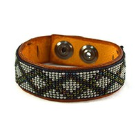 Gift for Him Gray and Dark Green Twist Mens Leather Bracelet