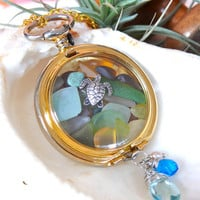 Sea Glass Vintage Pocket Watch Necklace by MermaidTearsDesigns