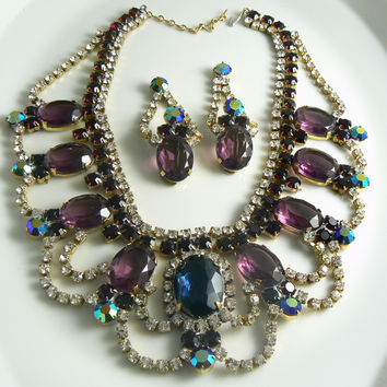 Czech Glass Statement Amethyst Necklace Earrings