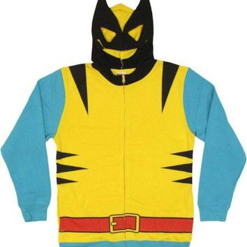Wolverine Costume With Mask X-Men Avengers Marvel Zip Up Hoodie
