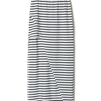 White Stripe High Waist Pencil Skirt