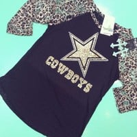 Dallas cowboys leopard raglan