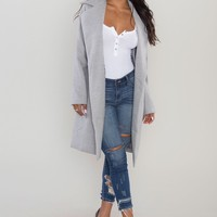 Open Front Coat - Heather Grey