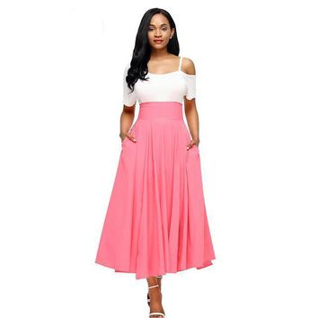 Dear Lovers New Autumn Winter Women Gray Retro High Waist Pleated Belted Maxi Skirt