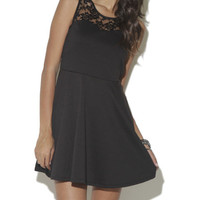Lace Yoke Skater Dress - WetSeal
