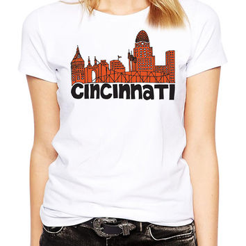 Cincinnati Skyline Shirt - Cincinnati Football - Cincinnati Ohio - Urban - City - Town - Skyscraper - Cityscape - United States - City Life