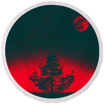 Red Sunset By Adam Asar - Round Beach Towel