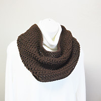 Lightweight Fall Chocolate Brown Carafe Trending Color Crochet Infinity Scarf Neck Warmer Shoulder Cozy