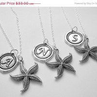 Summer Sale Save15% 3 Best Friends Starfish Wax Seal Initial Necklaces BFF