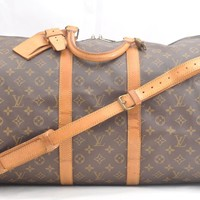 Auth Louis Vuitton Monogram Keepall Bandouliere 55 Boston Bag M41414 LV 41949