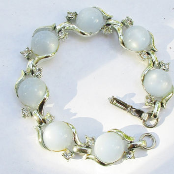 CORO Blue Moonstone & Crystal Bracelet Silver Tone Vintage Link  Signed Beautiful Glow