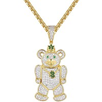 Men's Weed Money Teddy Bear Iced Out Pendant Chain