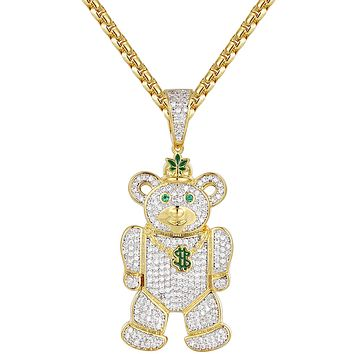 14k Gold Finish Green Weed Money Teddy Bear Silver Pendant
