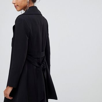 Oasis wrap front coat in black at asos.com