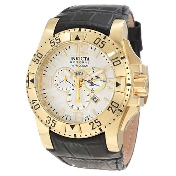 Invicta 10520 Men's Excursion Reserve Silver Dial Gold Tone Steel Leather Strap Chronograph Dive Watch
