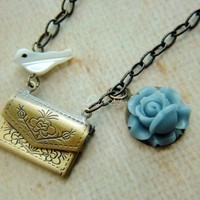 Antique Brass Envelope Letter Locket Blue Flower Bird | LittleApples - Jewelry on ArtFire