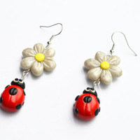 Ladybug with flower earrings - polymer clay ladybirds