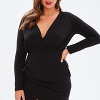 Missguided - Curve Black Wrap Slinky Dress