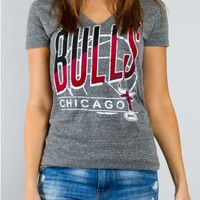 Junk Food Clothing - NBA Chicago Bulls Deep V-Neck Tee