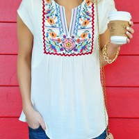 Kiss of Floral Tee, Ivory