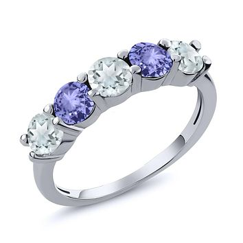 925 Natural Sky Blue Aquamarine Blue Tanzanite Ring