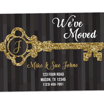 Gold Key Moving Announcement - Elegant We've Moved Announcement Cards - Black Stripe  - Gold Glitter - Keys Moving Announcements - Monogram