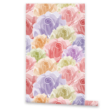 Floral WALLPAPER, Removable Vinyl Self Adhesive Roses Wallpaper, Wall Decal, Peel & Stick, Repositionable Wallpaper Rose Pattern
