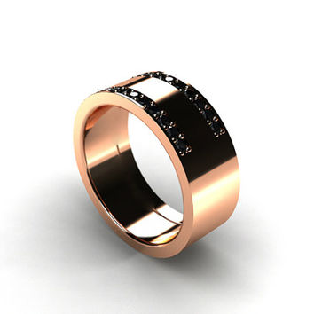 Black Diamond ring, mens wedding band, rose Gold, men diamond ring, mens modern band, men black diamond wedding, white gold, yellow gold