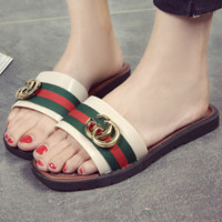 GUCCI 2018 summer flat-bottomed thick-soled color matching word slippers F0386-1 green