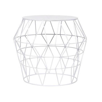 White Metal Drum Stool   Overstock.com Shopping - The Best Deals on Coffee, Sofa & End Tables