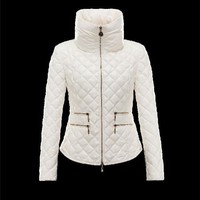Moncler GUERY Turtleneck Ivory Jackets Lacquered Nylon Womens 41456719ML