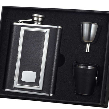Visol SP Black Leather 6oz Deluxe Flask Gift Set
