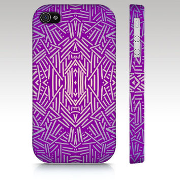 Tribal iPhone case, iPhone 4s case, iPhone 5 case, tribal aztec ethnic pattern design, purple blue, art for your phone