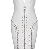 Honey Couture CODY White Strapless Deep V Neckline Chain Detail Midi Bandage Dress