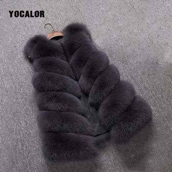 Fur Vest Faux Fur Coats High Imitation Outerwear High Quality Mink Full Pelt Warm Winter Overcoat Female Jacket Women Fox