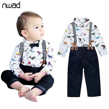 NWAD Baby Boy Clothing Set 2017 Newborn Baby Boys Clothes Gentleman Dinosaur Print Shirt + Bow Tie + Suspender Trousers FF224