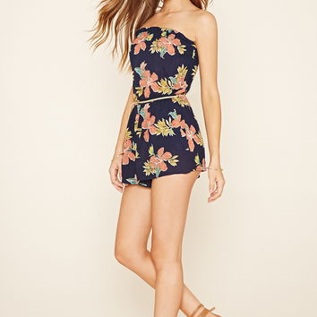 Strapless Floral Print Romper