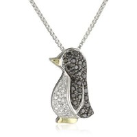 Sterling Silver and 14k Yellow Gold Black and White Diamond Penguin Pendant Necklace (0.23 cttw)
