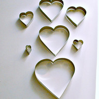 Heart Cookie Cutters Graduated Lot of 7 Cutters  Vintage Valentine's Day Heart Shaped Cutters Vintage Nesting