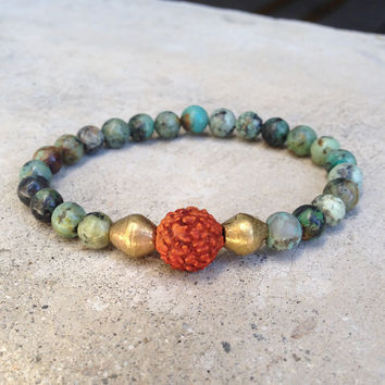 """Change and Healing"" Bracelet, African Turquoise and Rudraksha Guru Bead"