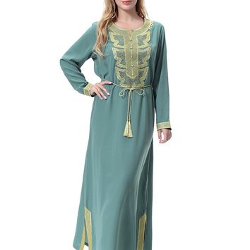 Abaya Muslim Dress Embroidered Islamic Hijab Long Dress Full Sleeve Dubai Malaysia Turkish Dress Arab Women Clothing Vestidos