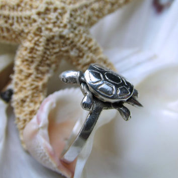 Sterling Silver Turtle Ring Movable 3D Size 9