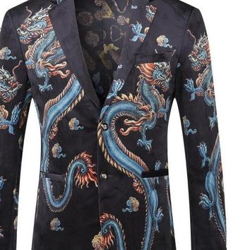 Men Clothing Dragon Print Blazer For Men Vintage Suit Jacket Men Stage Wear Prom Blazers
