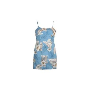 Sky Blue Short Hawaiian Skinny Strap Floral Dress