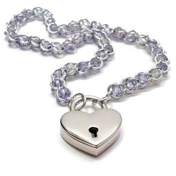 Slave Collar Blue Lilac Captive Color Changing Crystals in Chainmail with Heart Lock