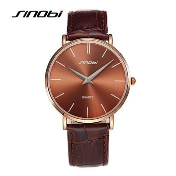 SINOBI Super Slim Quartz Wristwatch Males Business Genuine Leather Casual Quartz Watches Men and Women's 2017 Clocks Relojes