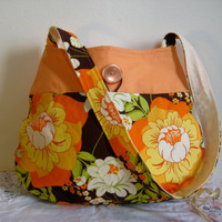Tote Dewdrop Shaped Tote in Orange and Brown by moxiebscloset