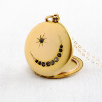 Antique Star & Moon Rhinestone Locket- Victorian Edwardian 1900s Round Gold Filled Large Pendant