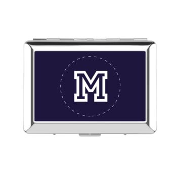 Monogram Customize Silver Navy Lady's Cigarette Case - Lady's Cigarette Case