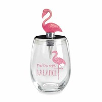 Flamingo Find The Right Balance Stemless Wine Glass & Topper Set